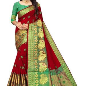 Red Saree With Green Blouse