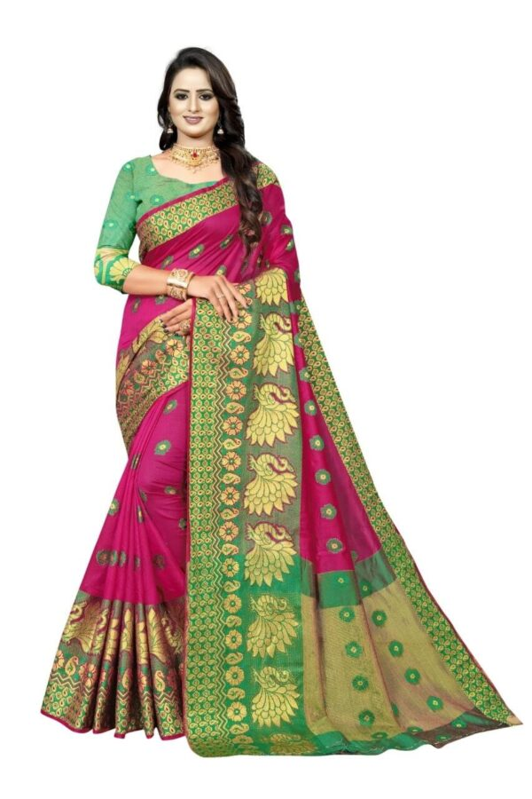 Pink Saree With Green Blouse