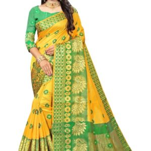 yellow saree with green blouse