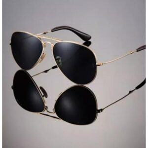 Black Aviator With Golden Frame
